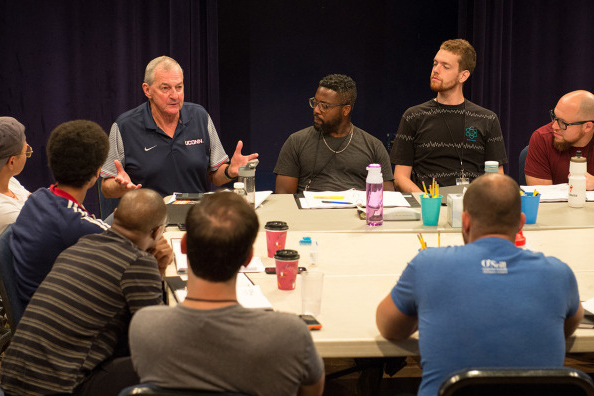 Hall-of-Fame coach Jim Calhoun offered an inside perspective on college basketball for a new production, 'Exposure,' showing this weekend at the Eugene O'Neill Theater Center in Waterford. (AP Photo via Athletic Communications)
