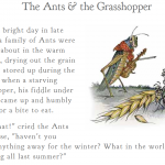 Aesop's Fable, The Ants and the Grasshopper. (Library of Congress)