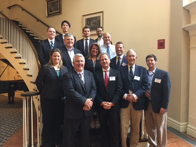 Sports medicine surgeons and researchers from around the globe gathered for UConn Health's first International Sports Medicine Symposium on July 14. Some attendees included in photo include: Dr. Katherine Coyner, Dr. Augustus D. Mazzocca, Dr. Andreas Imhoff, Dr. John Fulkerson, Dr. Corey Edgar (Row 1), Dr. Kevin Shea, Mary Beth McCarthy, and Dr. Knut Beitzel (Row 2), Dr. James Wiley, Dr. Daichi Morikawa, Dr. Bastian Scheiderer, Dr. Florian Imhoff and Dr. Robert Arciero (Row 3).