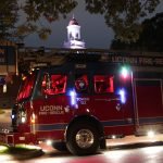 The new truck lit up at night outside the Wilbur Cross Building. (Rob Babcock/UConn Photo)