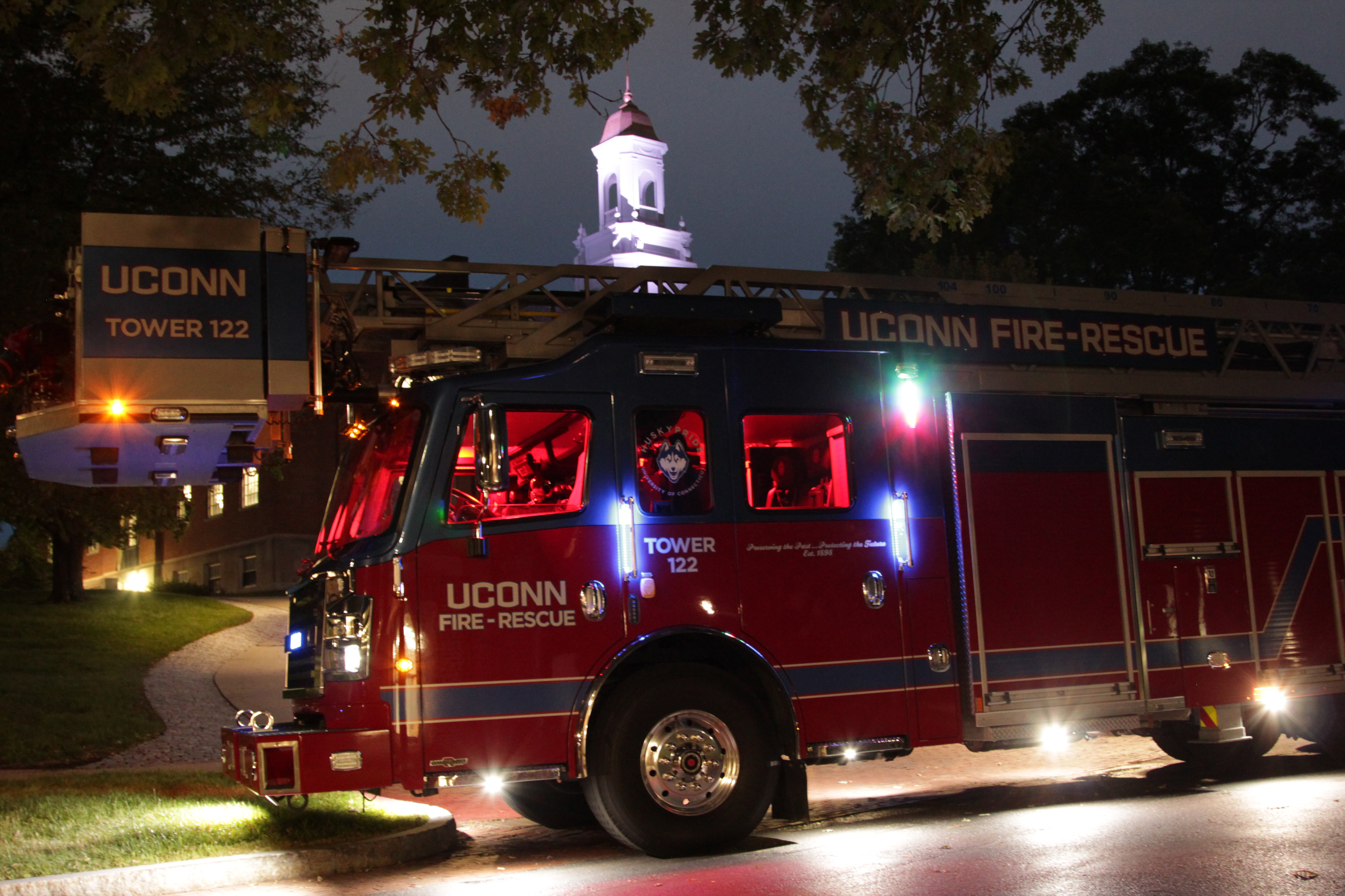 The University recently purchased a new fire tower truck that will enable firefighters to access even the top floor of the highest residence halls. (Rob Babcock/UConn Photo)