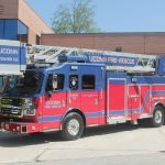 The new tower fire truck. (Rob Babcock/UConn Photo)