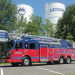 The new fire truck, with the water towers in the background. (Rob Babcock/UConn Photo)