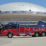 The new firetruck outside Gampel Pavilion. (Rob Babcock/UConn Photo)