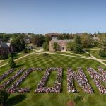 Members of the Class of 2021 pose on the Great Lawn for their class photo on Aug. 26, 2017. (Peter Morenus/UConn Photo)