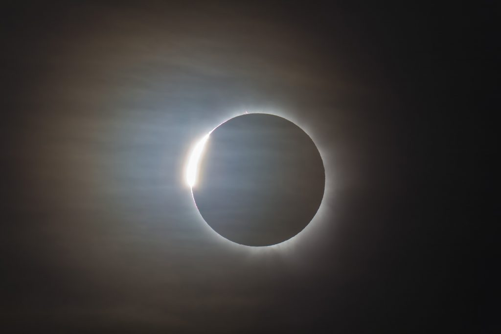 The diamond ring is one of the special effects that may be viewed during a total solar eclipse, as seen here in Queensland, Australia, on Nov. 14, 2012. (Getty Images)