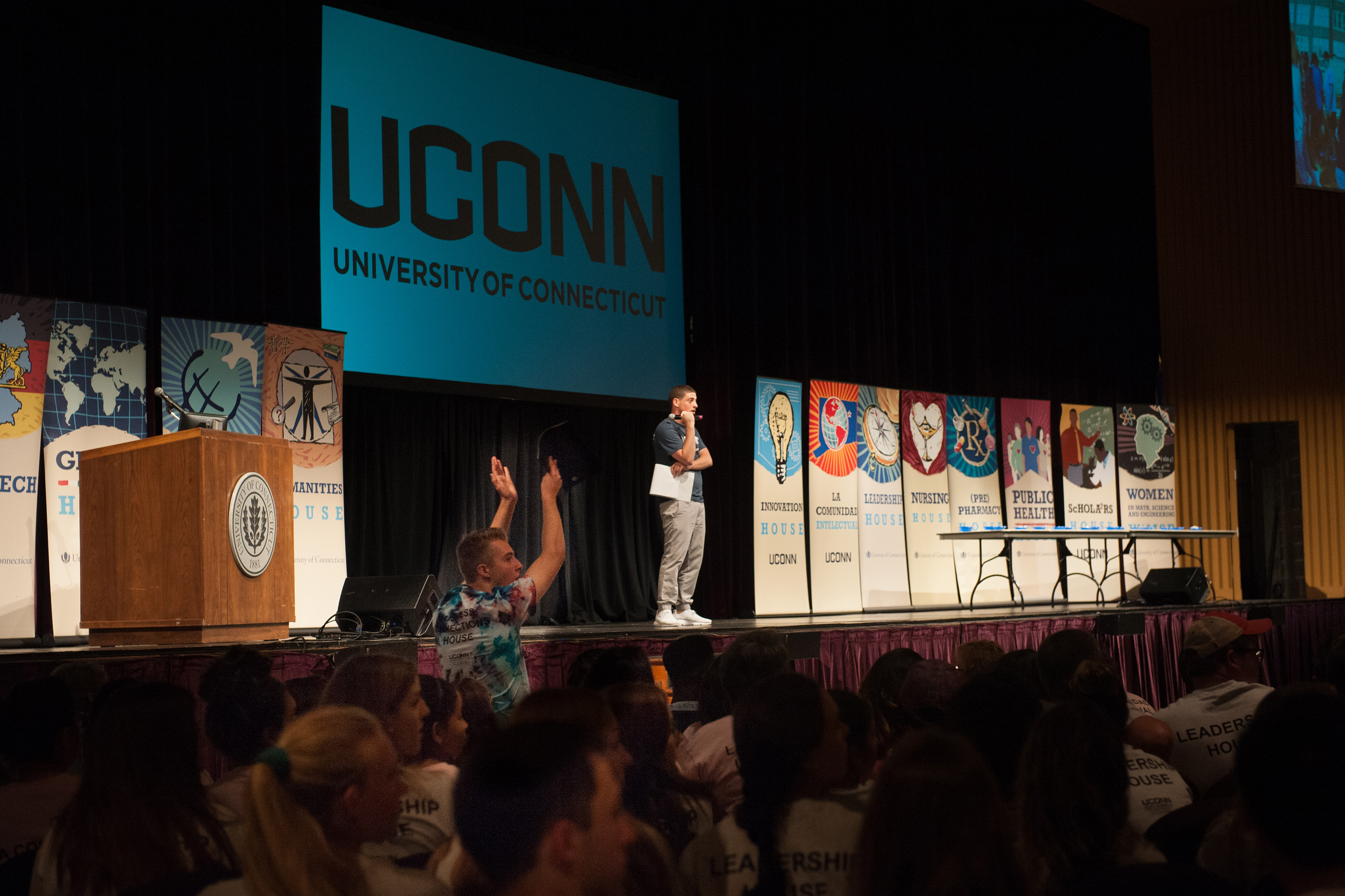 Many students got an introduction to UConn's Learning Communities at a kickoff event on Aug. 27. (Defining Studios for UConn)