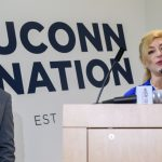 President Susan Herbst, right, speaks at the Avery Point campus to speak about the state budget on Sept. 25, 2017. At Left is Gov. Dannel Malloy. (Peter Morenus/UConn Photo)