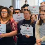 Kristen Foster '20 (CLAS), center, listens with other students as Gov. Dannel Malloyt speaks about the state budget at the student center at the Avery Point on Sept. 25, 2017. (Peter Morenus/UConn Photo)