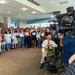 Students, faculty, staff, and members of the media listen as Gov. Dannel Malloy speaks about the state budget at the Avery Point campus student center on Sept. 25, 2017. (Peter Morenus/UConn Photo)