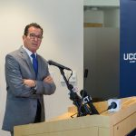"Gov. Dannel P. Malloy, speaking at UConn Avery Point on Monday (Sept. 25, 2017), vowed to continue fighting against efforts to impose legislative cuts on UConn in a budget he described as ""anti-intellectual"" and ""a frontal assault"" on the state's flagship university. (Peter Morenus/UConn Photo)"