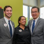 Stan Kesilewski '18 (CLAS), left, Liz White '18 (CLAS) and Gov. Dannel Malloy at the Avery Point campus student center on Sept. 25, 2017. (Peter Morenus/UConn Photo)
