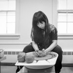 With an IDEA grant, Eva Hu '18 (SFA), an undergraduate from China, is applying skills she learned at UConn to translate the traditional calligraphy of her homeland into 3-D sculpture. (Sean Flynn/UConn Photo)