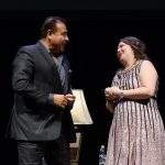 """John Quiñones, left, host of the ABC show """"What Would You Do?"""" speaks with Fany Hannon '08 MA, PRLACC director, following the """"Illuminating the Path"""" lecture. (Peter Morenus/UConn Photo)"""