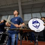 The UConn Marching Band performs Husky favorites, including the Fight Song, at the rally. (Peter Morenus/UConn Photo)