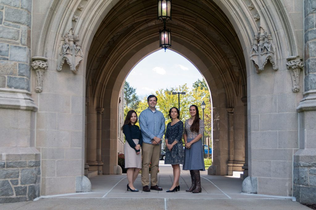 Professor Jessica Rubin and a team of UConn Law students have taken a leading role in a groundbreaking new courtroom advocacy program for animals. Pictured from left, Julie Shamailova, Christopher Kelly, Professor Jessica Rubin, and Taylor Hansen.