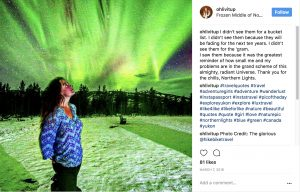 ... and experiences the gleaming aurora borealis in Yukon Territory.