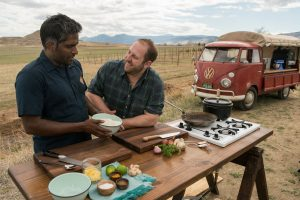 Chef Joel Gamoran travels to Denver, Colorado to cook with local chef and restaurateur Biju Thomas, who is rapidly emerging on the Denver food scene. The pair find the scrappiest cut of meat from a local butcher, and use beef cheeks, cucumber seeds, stale rice, and ginger peels to create a mouthwatering meal for some Denver locals.