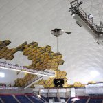 The roof of Gampel Pavilion during renovations. (Bret Eckhardt/UConn Photo)