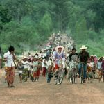 Refugees fleeing Cambodia in 1989. The Khmer Rouge genocide and Vietnamese occupation from 1979 to 1989 forced many Cambodians to flee to neighboring countries.(Peter Turnley/Corbis/VCG via Getty Images)