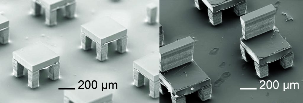 Electronmicroscope images illustrating the 3-D manufacturing technique.(Courtesy of Thanh Nguyen)