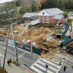 A view of construction along North Eagleville Road outside the Trachten-Zachs Hillel House, taken from the Gant Science Complex on Oct. 16, 2017. (Peter Morenus/UConn Photo)