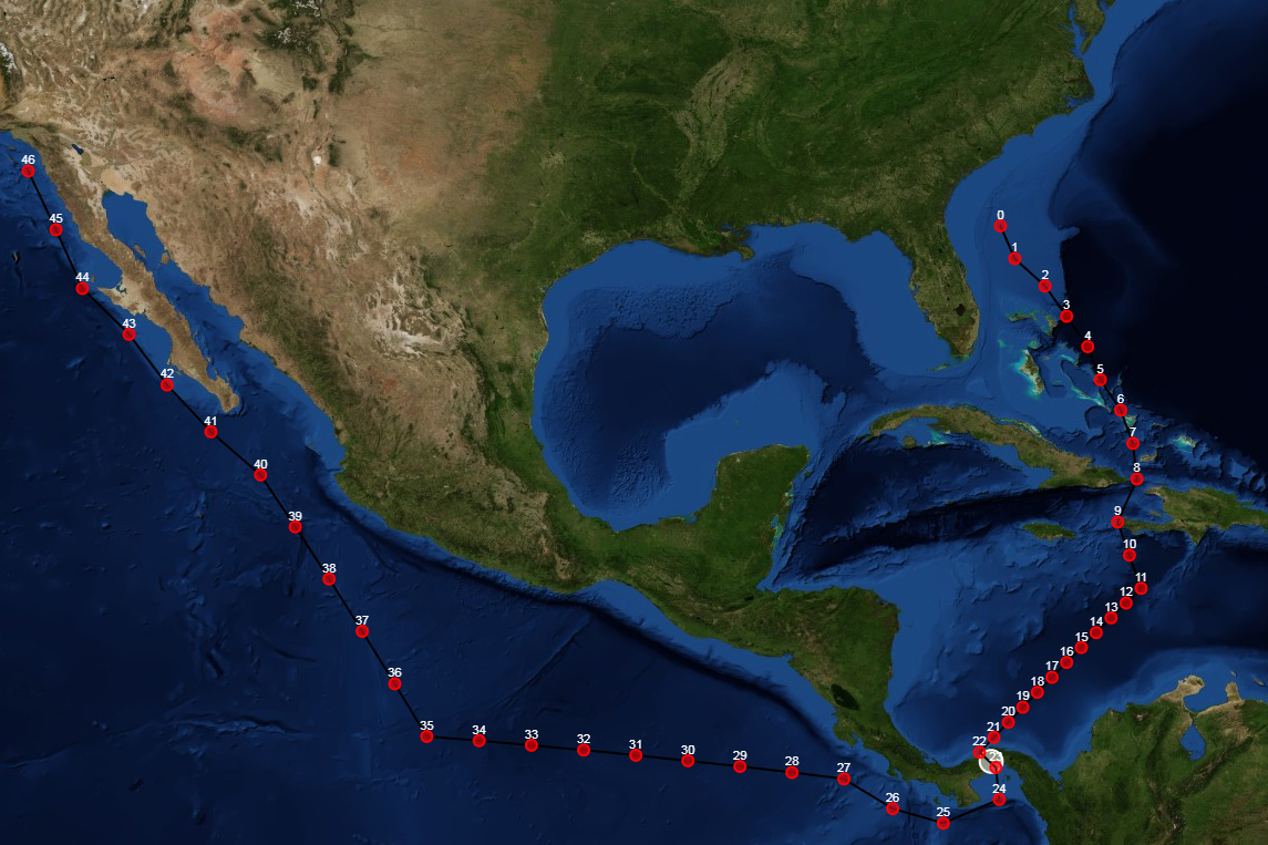 Screenshot of a requested ship transit from Jacksonville, Florida, through the Panama Canal and on to San Diego. The bright circle at the foot of the image shows where the Panama Canal is and can be selected by the user.