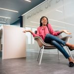 MBA student Enuma Ezeife in a classroom on a new floor at the Graduate Business Learning Center in Hartford. (Nathan Oldham/UConn Photo)