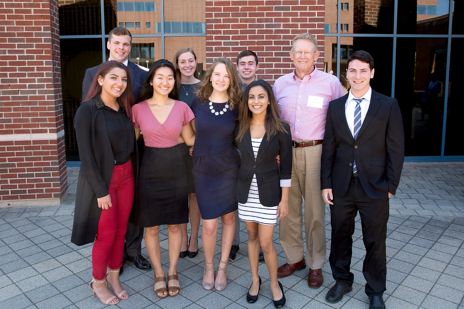 Holster Scholar presenters with Robert Holster '68 (CLAS), second from right, on September 25, 2017.