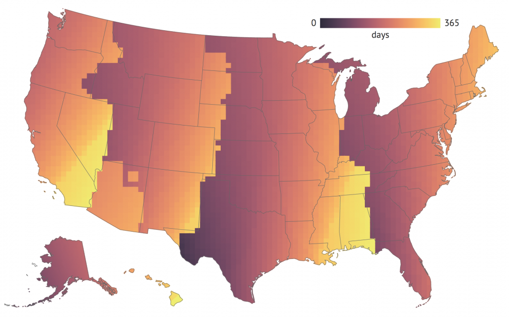 People who live further west in a time zone experience fewer days with natural morning light. As a result, they depend upon electric light to get ready for work and other business of the day. Lighter colors mean more mornings per year in light.