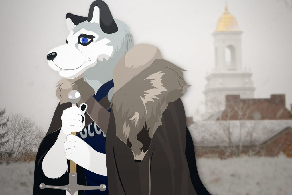 Illustration of Jonathan the Husky mascot in a Game of Thrones costume, with Wilbur Cross Building in the background. (Yesenia Carrero/UConn Illustration)