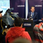 Gov. Dannel Malloy speaks about the success of CT Transit bussing during an event at the Nash-Zimmer Transportation Center on Nov. 13, 2017. (Peter Morenus/UConn Photo)