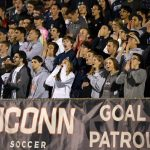 UConn Men's Soccer fans, otherwise known as the Goal Patrol, cheer on their team at a home game in Morrone Stadium. (Stephen Slade '89 (SFA) for UConn)