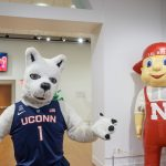 A previous version of UConn's Jonathan the Husky, left, and Lil' Red from the University of Nebraska-Lincoln. (Peter Morenus/UConn Photo)