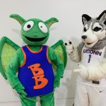 Jonathan the Husky, UConn's current mascot, right, poses with ESPN's mascot Buster Brackets. (Peter Morenus/UConn Photo)