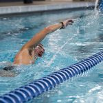 Noon Swimming laps at the Student Recreation Center. (Sean Flynn/UConn Photo)