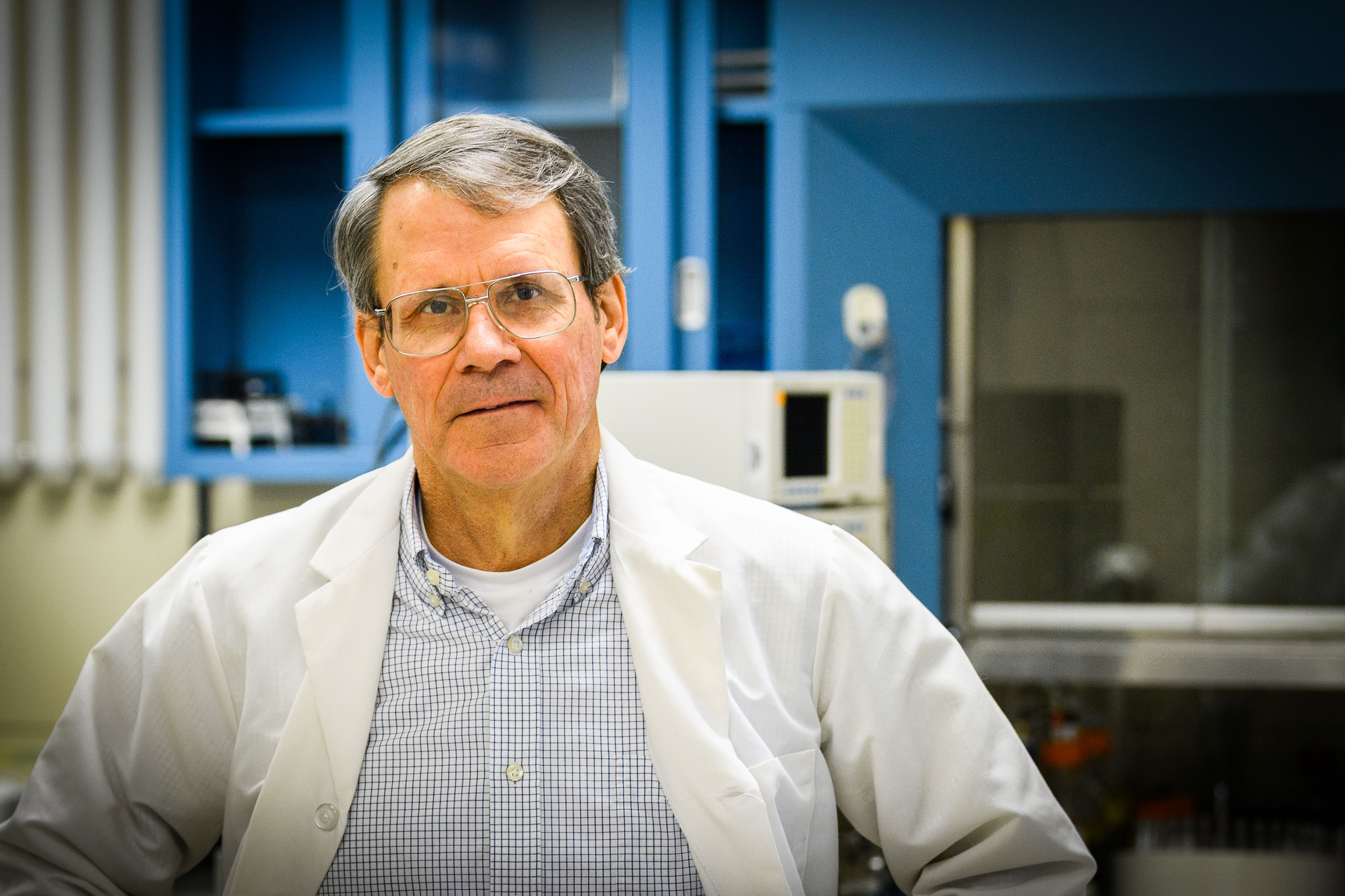 Frank Nichols, clinical professor, at his lab at UConn Health in Farmington on Oct. 30, 2017. (Peter Morenus/UConn Photo)