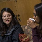 Tiffany Hsu, a senior majoring in chemical engineering, awaits speaker Shireen Ahmed, an athlete, advocate, and community organizer, at the Asian American Cultural Center. (Garrett Spahn/UConn Photo)