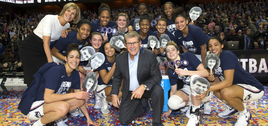 The team that clinched the 1,000th win for Geno Auriemma and Chris Dailey. (Stephen Slade)