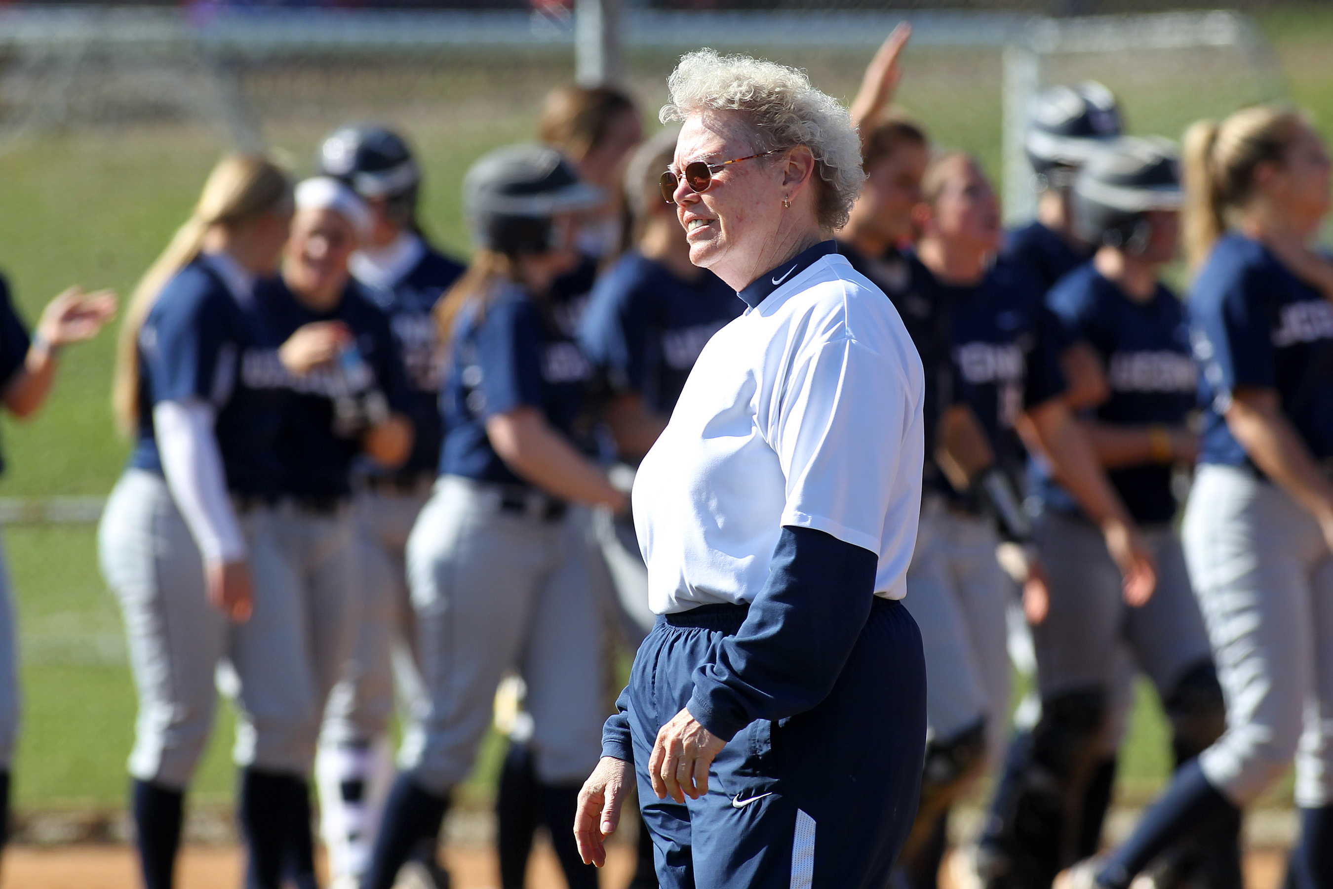 Karen Mullins, head coach of UConn softball 1983-2014. (Stephen Slade '89 (SFA) for UConn)
