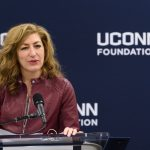President Susan Herbst speaks during an event to announce a $22.5 million commitment to the University from Peter J. Werth, and the naming of the Peter J. Werth Residence Tower. (Peter Morenus/UConn Photo)