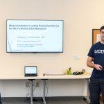 Fearass Zieneddid '18 (ENG), left,  and Alexandros Mathioudakis '14 (ENG), a graduate student, of MultiBiomech present during the Entrepreneurial & Innovation Student Huddle held at the  Peter J. Werth Residence Tower on Dec. 4, 2017. Their company has patented a device to help a person stand from a  seated position. (Peter Morenus/UConn Photo)