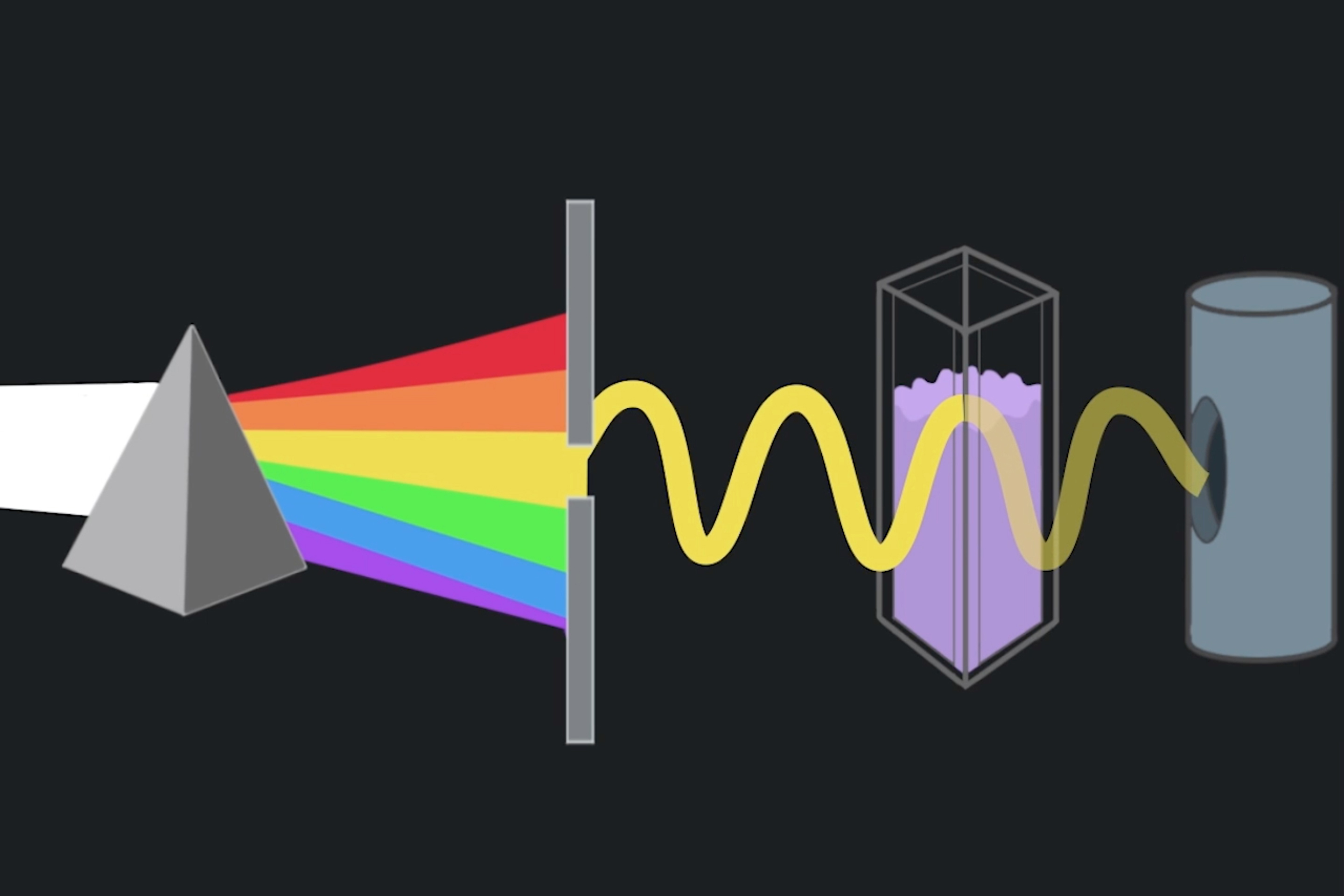 Spectrophotometry is the science of measuring chemical absorption and reflection of light. Illustration by Jessica Ortegon '18 (CLAS)/(SFA), a double major in chemistry and art and art history. The animation was developed by Alexandra Sailer '19 (SFA), a digital media and design major.
