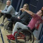 Junior Joseph De Muyt, an economics major, plays wheelchair basketball at an event organized by UConn Recreation and Husky Adapted Sport Club, with support from the Ryan Martin Foundation, on Nov. 30. (Garrett Spahn '18 (CLAS)/UConn Photo)