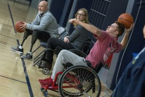 Junior Joseph De Muyt, an economics major, plays wheelchair basketball. (Garrett Spahn '18 (CLAS)/UConn Photo)