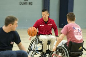 Senior Long Du, an actuarial science major, plays wheelchair basketball. (Garrett Spahn '18 (CLAS)/UConn Photo)