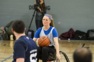 Freshman Sidney Murner plays wheelchair basketball. (Garrett Spahn '18 (CLAS)/UConn Photo)