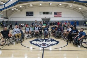 Students assemble to play wheelchair basketball at the Student Recreation Center on Nov. 30. The activity was organized by UConn Recreation, Husky Adapted Sport Club, and the Ryan Martin Foundation. (Garrett Spahn '18 (CLAS)/UConn Photo)