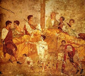 Pompeii family feast painting, Naples. Unknown painter before 79 AD, via Wikimedia Commons