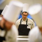 Andrew McMullen of McMahon dining looks over ingredients. (Peter Morenus/UConn Photo)